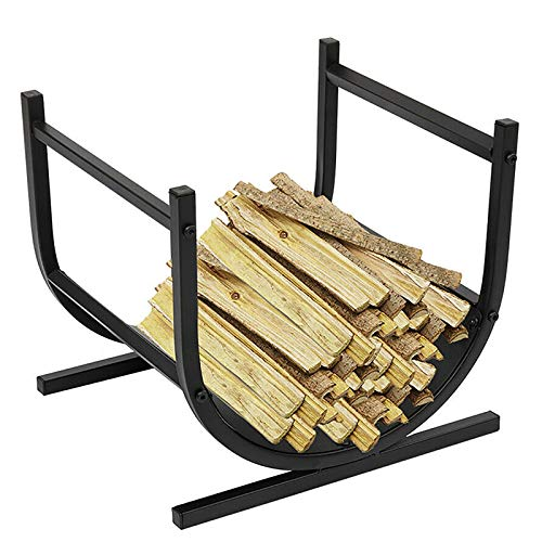 Fireplace Firewood Log Rack with Scrolls, Small 18inch Oval Base Wood Holder Rack, Half Round Logs Rack, Stove/Hearth/Fire Pit Accessory
