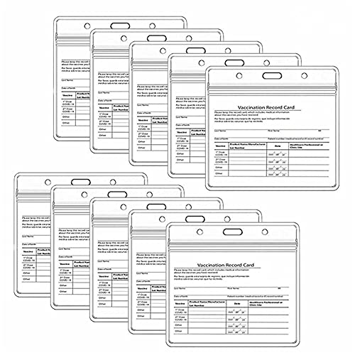 W Weiluogao 10Pcs CDC Vaccination Record Card Holder, Cdc Vaccination Card Protector 4 X 3 Inches Immunization Record, Immunization Card Protector Waterproof for Id Cards (1)
