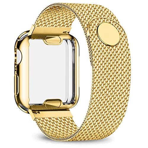 jwacct Stainless Steel Bands Compatible with Apple Watch Band 40mm- with Full Screen Protector for iWatch Series 4/5 - Adjustable Metal Magnetic Strap in 8 Classy Colors (Yellow Gold)