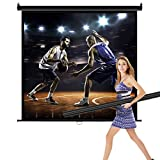 Projector Screen 119 inch Diagonal 1:1 HD Manual Pull Down Indoor Outdoor Home Theater Projection Screen