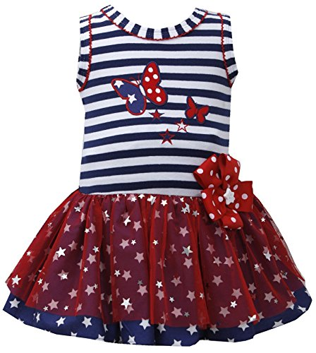 Baby Girls Red White Blue Butterfly Spangle Star Patriotic Americana Dress (3-6 Months, Navy)