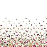 Soimoi Weiß Georgette Viskose Stoff Blätter und Blumen