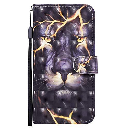 TTNAO Schutzhülle für Samsung Galaxy S20 FE 4G / 5G, 3D-Optik, Leder, Magnetverschluss, Standfunktion, Brieftasche, Klappdeckel mit Kartenfächern, inkl. 1 x Displayschutzfolie (Thunder Lion)
