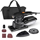 Orbital Sander, 3 in 1 Electric Sander with 15 Pcs Sandpapers 6 Variable Speeds 7000RPM-12000RPM, Efficient Dust Collection System Detail Sander Machine DIY for Woodworking-MDS01B