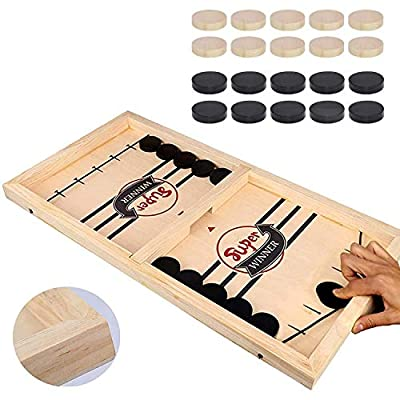 HELLO PAPAYA Fast Sling Foosball Supper Fast Winner Puck Game (Large Size), Table Desktop Battle 2 in 1 Ice Hockey Game, Funny Battle Board Games for Adults or Kids Party Home Parent - Child Game