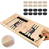 HELLO PAPAYA Fast Sling Puck Game,Wooden Hockey Game,Desktop Battle Sling Hockey Table Game,Adults Kids Family Slingshot Board Game,Parent-Child Interaction toys,Foosball Winner Board Games-Large Size