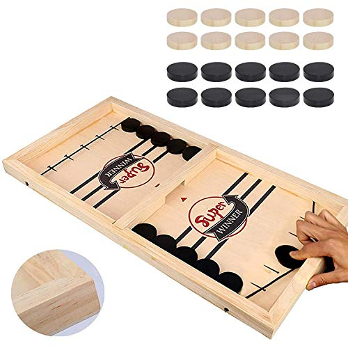 HELLO PAPAYA Fast Sling Puck Game,Wooden Hockey Game,Super Winner Game Desktop Battle Sling hockey Table Game.Adults and Kids Family Funny Slingshot Games toys.Foosball Winner Board Games-(Large Size)