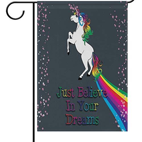Unicorn Rainbow Drapeau Garden House Banner 30,5 x 45,7 cm, Just Believe in Your Dreams Petite Mini décoratifs double face Welcome Yard drapeaux pour Vacances fête de mariage Maison en plein air extérieur Décor, Tissu, multicolore, 12x18(in)