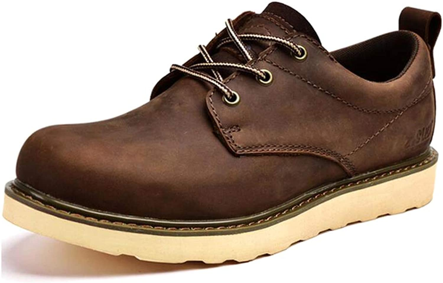 Y-H Men's Casual shoes, Fall winter Leather Low Top Lace-up Martins Boots,Men Formal shoes,Tooling Boots Trekking (color   Brown, Size   41)
