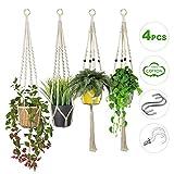 Colgador de Plantas, 4 Unidades Macetas Macrame Plantas, Soporte para Macetas de...