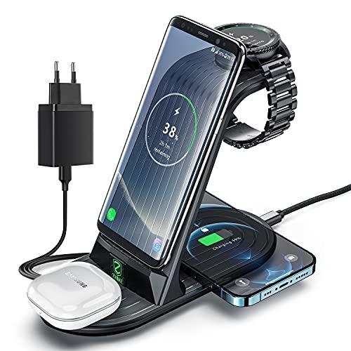 Caricabatterie Wireless, Ricarica Rapida ZHIKE 4 in 1 10W Certificato Qi, Compatibile con iPhone serie 11 / XS/XR/X / 8/8 Plus, Huawei, Samsung, Airpods, Galaxy Watch e Buds (non per Apple Watch)