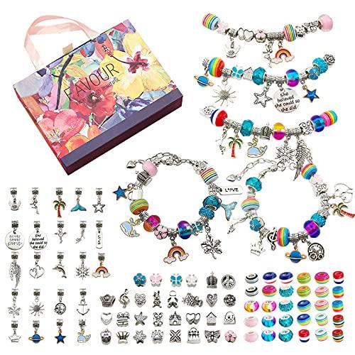 FOGARI Juego de pulseras con abalorios para niñas de 5 a 12 años, para manualidades, con caja de regalo de perlas y colgantes, bonitos juegos de joyas, regalo de Navidad, regalo de cumpleaños