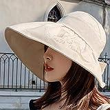 Sombrero De Playa para Sombreros De Playa De Verano para Mujer, Sombrero De Copa Vacío Plegable De ala Ancha Grande,Gorra De Visera Ajustable Anti-UV, Gorra De Amor Bordado