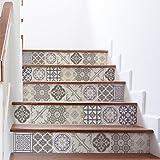 Stickers adhésifs escalier | Sticker Autocollant Carreaux de Ciment - Mosaïque carrelage Escalier | Carreaux de Ciment Adhésif Mural Escalier - Multicolore 15x105 cm - 6 bandes