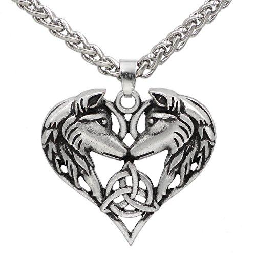 GuoShuang Men Celtic Spirit Amulet Couple Wolf Heart Pendant Necklace