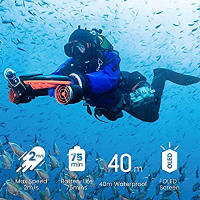 sublue Dual Motor 3-Speed Up to 4.47 mph Underwater Scooter 40m Waterproof 158 Wh with Two Camera Mount Portable Seascooter Seabow for Adult and Children