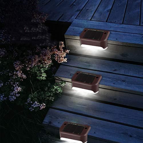 BBalm - 4 luces LED solares para techo de jardín, postes solares con postes de valla para escaleras, escalones y caminos, resistente a la intemperie