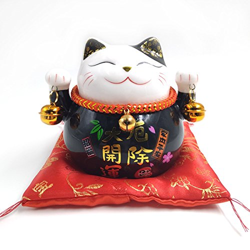 Hucha de cerámica de 11,4 cm Maneki Neko de gato de la suerte, hucha de gato de la suerte, color de la fortuna, hucha para decoración del hogar, regalo Feng Shui (color negro)
