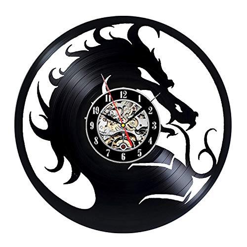 HGlSG LED colorato Orologio da Parete in Vinile Rock Mortal Kombat Orologio da Parete con Dischi in Vinile Design Moderno Adesivo 3D con Drago Tema del Film Orologio da Parete retrò Orologio con