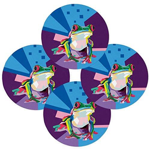 Colorido juego de 1 mantel redondo resistente al calor, lavable y resistente a las manchas, manteles individuales de poliéster antideslizantes para decoración de cocina y comedor