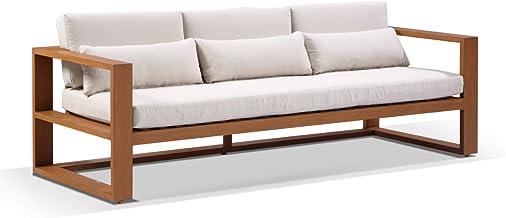 Santorini 3 Seater Outdoor Aluminium Lounge, Teak with Cream Cushions - Outdoor Aluminium Lounges, Outdoor Furniture - Bay...