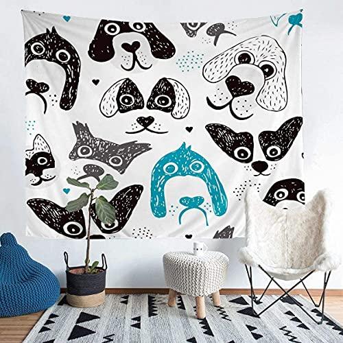 Manta de pared para niños con diseño de perro de dibujos animados para colgar en la pared para niños y niñas de poliéster, manta blanca para decoración de habitación pequeña de 60 x 80 pulgadas