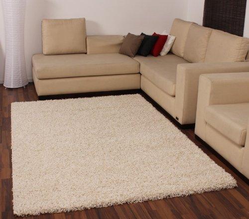 Paco Home Hochflor Shaggy Langflor Teppich u. Grössen, Grösse:160x230 cm, Farbe:Ivory (Creme)