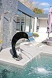 Cascada: Fuente de acero inoxidable 304 para piscina, delfín, masaje y decoración/altura: 1,17 m, profundidad: 85 cm, ancho: 48 cm