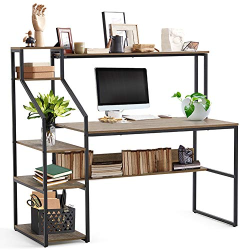 Linsy Home Computer Desk with Hutch and Storage Shelves, 55 inch Home Office Desk with Bookshelf, Laptop Writing Table for Small Spaces, Wood