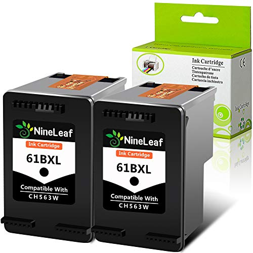 NineLaef Remanufactured Ink Cartridge Compatible for HP 61 61XL CH563W Use for Envy 4500 5530 5534 5535, Officejet 2620 4630 4635 Deskjet 1000 1010 1510 1512 2540 3050 3510 3050A Printe(2 Pack, Black)