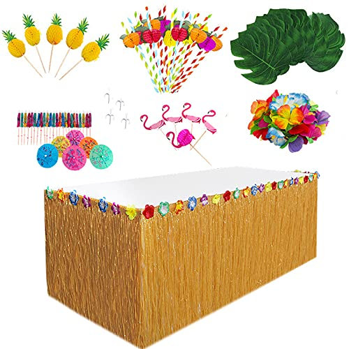 HBell 77pcs Hawaiian Grass Table Skirt Set for Tropical Party Decoration,Palm Leaves Hawaiian Flower Garland Colored Umbrellas Paper Pineapples 3D Fruit Straws,for Summer Beach Tiki Party Garden BBQ