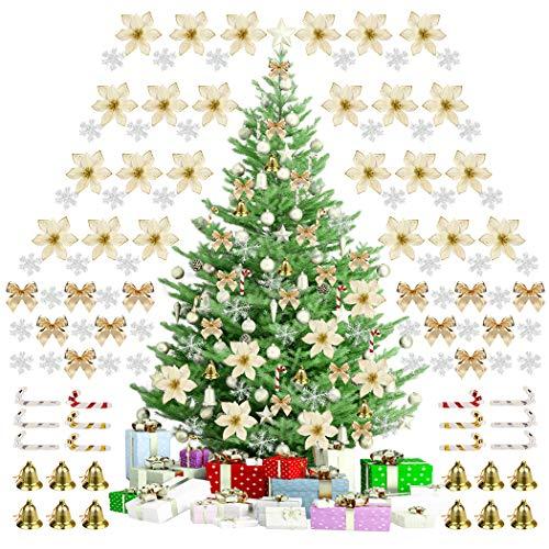 Ornamento di Albero di Natale, 120PCS Decorazioni per Albero di Natale Fiori di Natale Artificiali Glitterati con Campana Fiocchi Neve Piccole Stampelle Clip per Decorazioni Natalizie per Feste