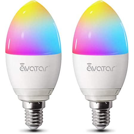 Avatar Controls Ampoule Connectée E14 Compatible Bluetooth, Ampoule WiFi Compatible Avec Alexa et Google home, RGB+Lumière Chaude Couleur Dimmable, 5 W=50 W, Commande Vocale, Pack de 2 Ampoules