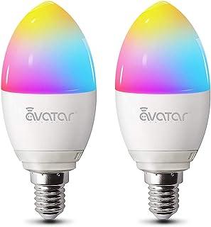 Alexa Smart LED-lampen E14, wifi-gloeilamp, 5 W, 2800 K, dimbaar, 16 miljoen kleuren, geen hub vereist, compatibel met Goo...