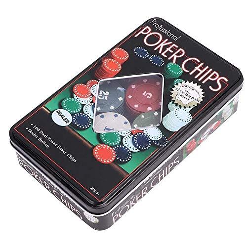 LGFB Blackjack-Sets 100 Chips Kartenspiel Poker für Familie Freunde Sponsored Unterhaltung Glücksspiel mit Blechdose
