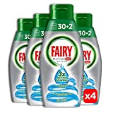 Fairy Platinum Gel Detersivo per Lavastoviglie, Brezza Marina, 30+2 Lavaggi, 100% Dissoluzione...