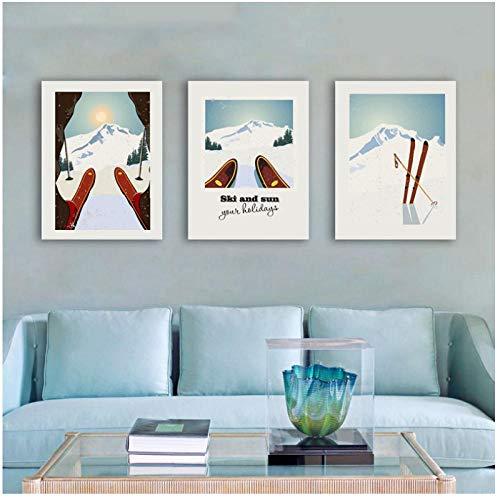 zzxywh Leinwand Malerei Wintersport Skifahren Kunst Poster Vintage Reiseplakat Ski Im Schnee Berg Drucken Winter Wohnkultur 40 × 60 cm × 3 Kein Rahmen