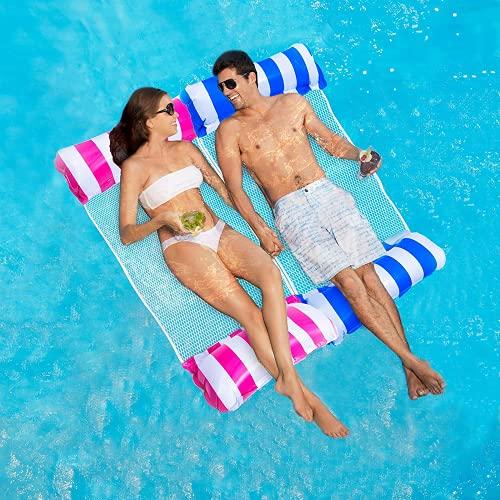 ECtury Luftmatratze Pool, Pool Wasserhängematte mit Netz, 4 in 1 Luftmatratze Wasser Hängematte Sessel Matratzen Sitz schwimmmatratze, Pool Zubehör Spaß Erwachsene(Saphirblau)