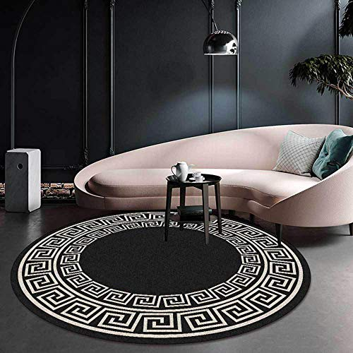 Tapis Rond Moderne Chic Design Minimaliste Noir, pour Salon Cuisine Chambre canapé Chevet vestiaire Enfants Chambre Vacances Cadeau Lavable-Diamètre 200 CM