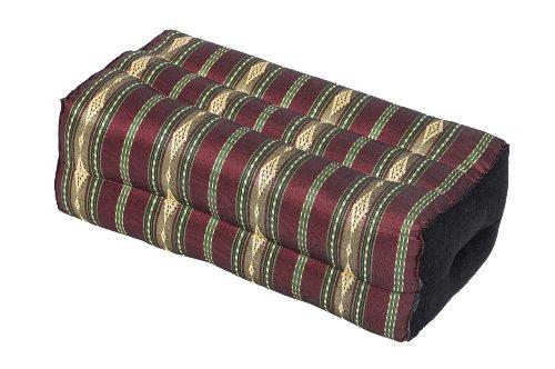 Handelsturm Coussin pour la Meditation Yoga 35x15x10 cm, Rembourrage Kapok, Design traditionel Thai Rouge/Vert