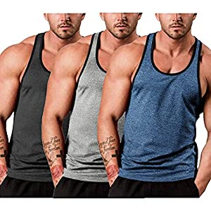 JINIDU Men's 3 Pack Gym Tank Tops Y-Back Workout Muscle Tee Sleeveless Fitness Bodybuilding T Shirts