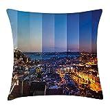 Kinhevao Apartamento Decor Throw Pillow, Panorama de la Ciudad de Lisboa en Diferentes variaciones del día Vista Urbana del Paisaje Urbano, Almohada Decorativa Cuadrada