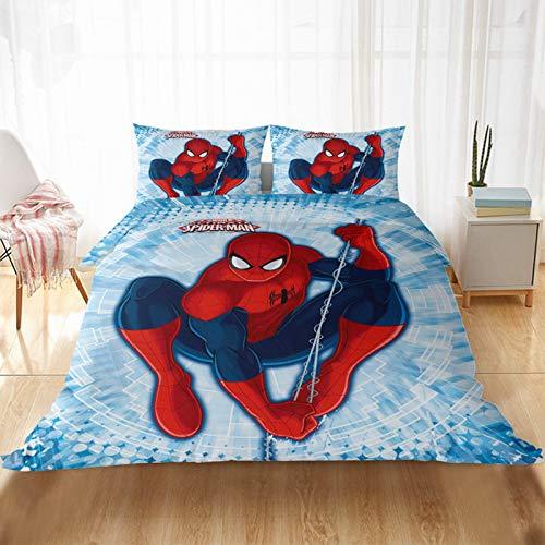 Spiderman Marvel Incredible Ropa de cama infantil para niñas y niños, impresión digital 3D, microfibra, funda de almohada (140 x 210 cm)
