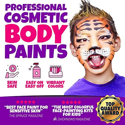 Blue Squid Face Paint Kit for Kids – 12 Color Palette, 30+3...