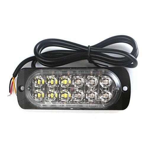 VORCOOL Lampe Stroboscopique à LED Ultra-mince 36W 12-24V 12 LEDs pour Camions Voitures Motos (Lumière Rouge et Lumière Bleue)