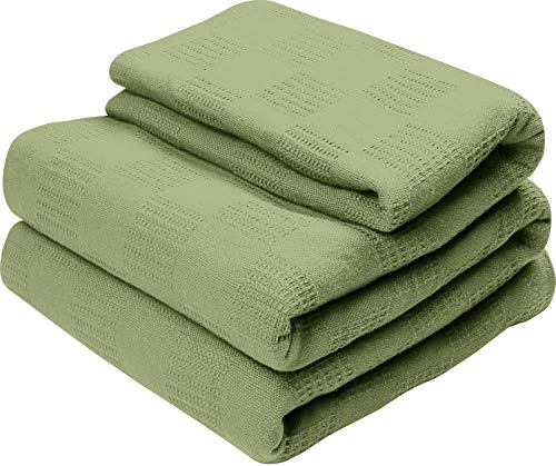 Utopia Bedding Premium Summer Cotton Blanket Queen Sage Green - Soft Breathable Thermal Blanket - Ideal for Layering Any Bed