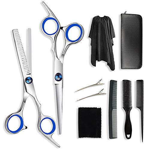 Adkwse Haarschneideschere,Friseurscheren Set Rostfreiem Stahl,Haarschere Set mit Friseurumhang, Effilierschere Friseurschere Haarschere für Frauen und Männer(10 PCS)