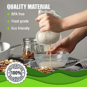 "Vandoona Pro Quality Italian Nylon Mesh Ultra Fine Commercial Grade Nut Milk Bag 12""x12"" All purpose Food-Grade Strainer for Almond/Soy Milk, Juices, Cold Brew, Beer, Coffee, Tea, Yogurt, Chessecloth 