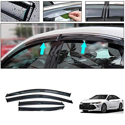 Side Window Deflectors for Toyota Avalon 2019 Car Window Visor Sun Rain Smoke Vent Shade Tape-On Outside Visors