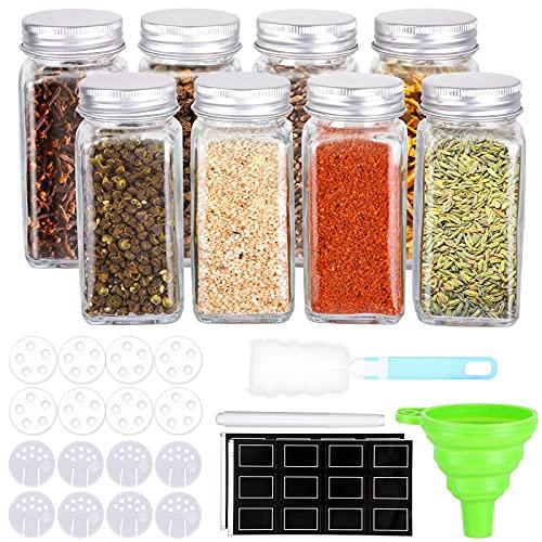 8 Botes para Especias Tarros para Especias Bote Especias Cristal Botes Especieros, 120ml Tarros de Cristal para Especia, Cocina, Barbacoa al Aire Libre